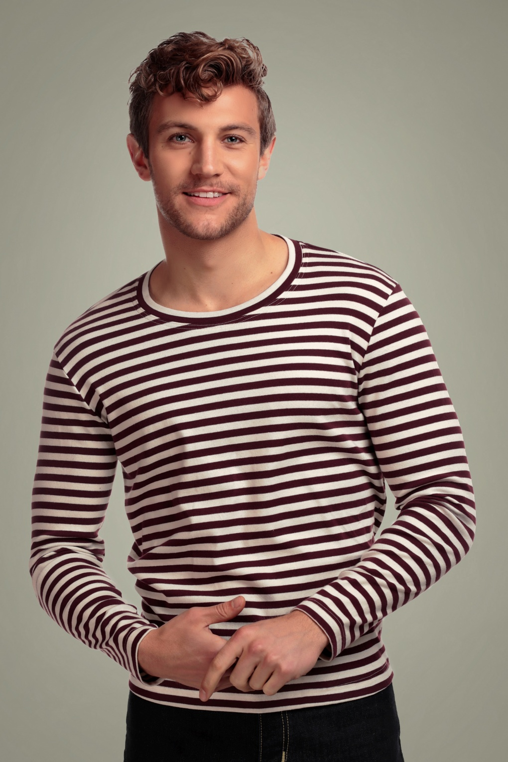 1940s Style Mens Shirts, Sweaters, Vests 50s Jim Striped Long Sleeved T-Shirt in Burgundy £21.34 AT vintagedancer.com