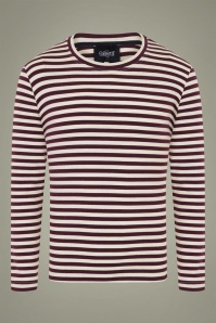 Collectif 31574 Jim Striped Long Sleeved T shirt in Burgundy 20190904 020LW
