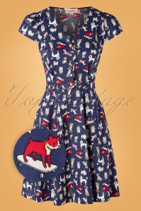 Louche 50s Cathleen Dogshow Dress in Blue