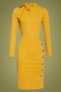 Smashed Lemon 60s Clara Pencil Dress in Mustard