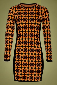 Smashed Lemon 70s Alvira Pencil Dress in Black and Orange