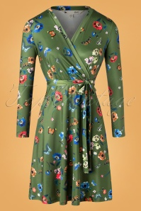 Yumi 60s Butterfly and Poppy Wrap Dress in Green
