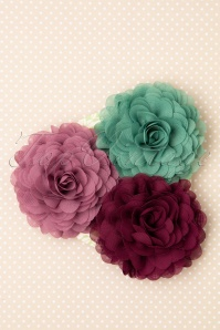 70s Hair Flowers Set in Mauve Mint