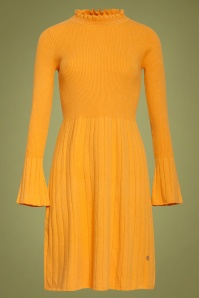 Smashed Lemon 60s Kylie Knitted Dress in Mustard