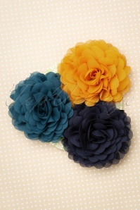 Urban Hippies 70s Hair Flowers Set in Blue Honey