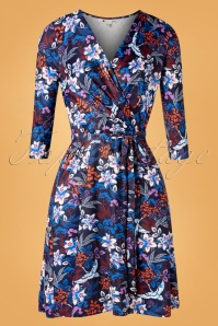 60s Autumn Crane Wrap Dress in Navy