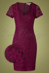 Yumi 50s Selmie Sweetheart Lace Dress in Burgundy