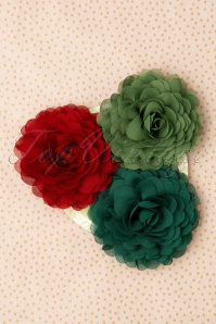 Urban Hippies 70s Hair Flowers Set Années 70 en Vert et Rouge