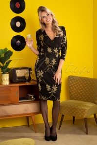 King Louie 60s Anja Defile Pencil Dress in Black and Gold