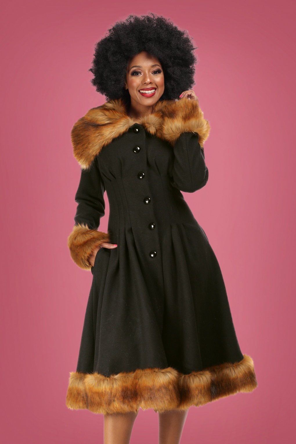 Vintage Coats & Jackets | Retro Coats and Jackets 30s Pearl Coat in Black Wool £210.00 AT vintagedancer.com