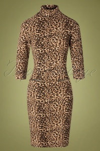 Smashed Lemon 60s Petra Pencil Dress in Leopard