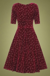 Collectif 29847 Trixie Velvet Sparkle Doll Swing Dress in Wine 20190905 021LW
