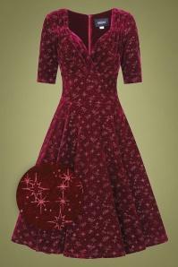 50s Trixie Velvet Sparkle Doll Swing Dress in Wine