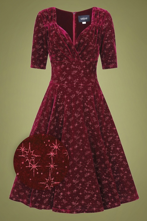 Collectif 29847 Trixie Velvet Sparkle Doll Swing Dress in Wine 20190905 020LZ