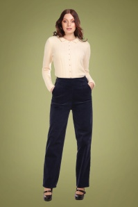 Collectif Clothing 70s Brianna Suit Trousers in Navy Corduroy