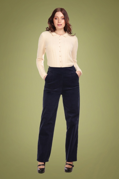 Collectif 29872 Brianna Suit Trousers in Navy 20190430 020L W