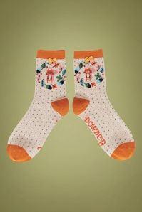 60s Autumn Squirrel Socks in Beige and Orange