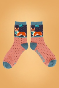 60s Corgi Socks in Blue and Pink