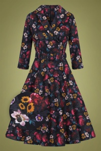 50s Penelope Midnight Floral Swing Dress in Black