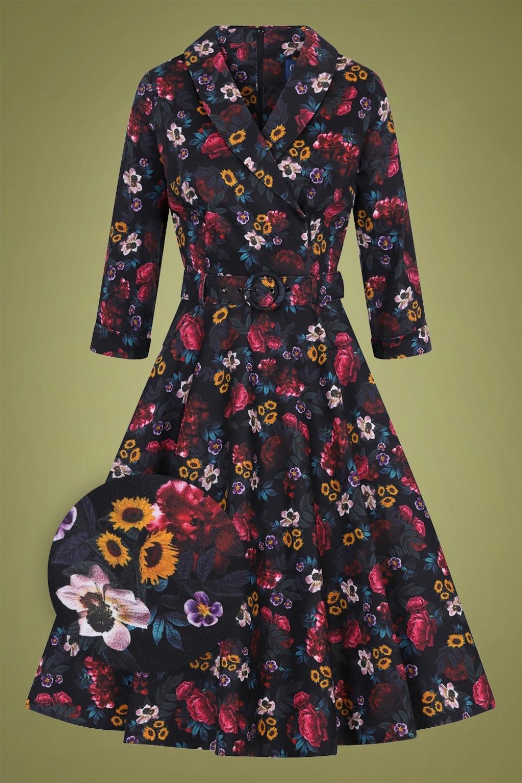 1950s Swing Dresses | 50s Swing Dress 50s Penelope Midnight Floral Swing Dress in Black £76.10 AT vintagedancer.com
