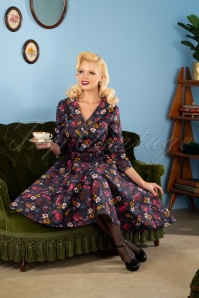 Collectif 29922 Penelope Midnight Floral Swing Dress in Black 20190611 945W