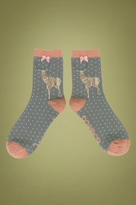 60s Jumper Stag Socks in Pink and Grey