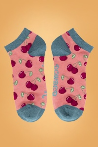 60s Cherries Trainer Socks in Candy Pink