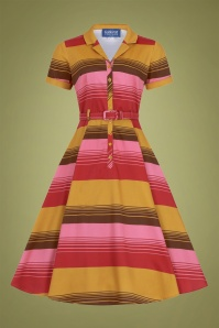 Caterina Sunset Stripes Swing Dress Années 50 en Moutarde et Rose