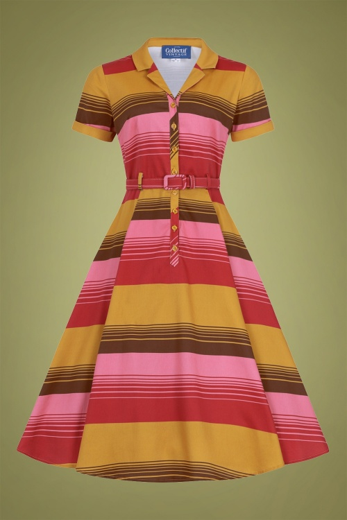 Collectif 29919 Caterina Sunset Stripes Swing Dress in Mustard 20190905 020LW