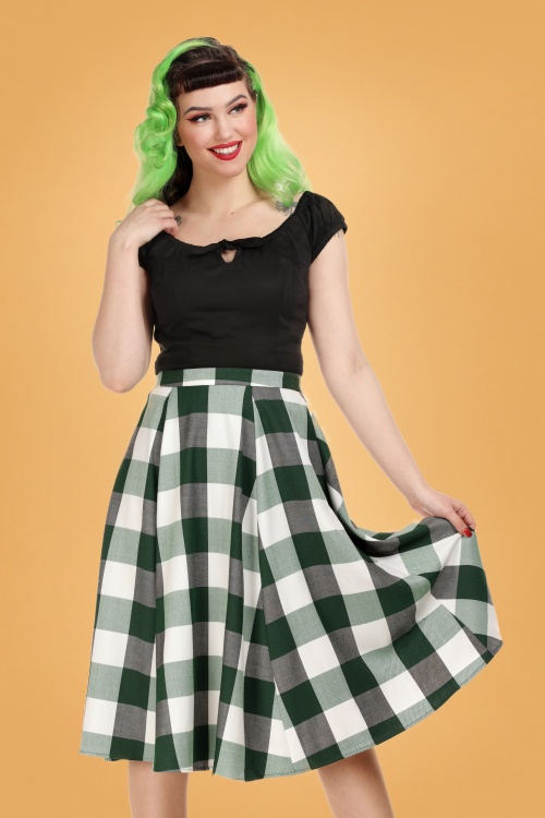 Collectif 29878 Matilde Meadow Check Swing Skirt 20190430 020LW