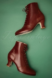Alexa Lizard Lace Up Booties Années 40 en Marron