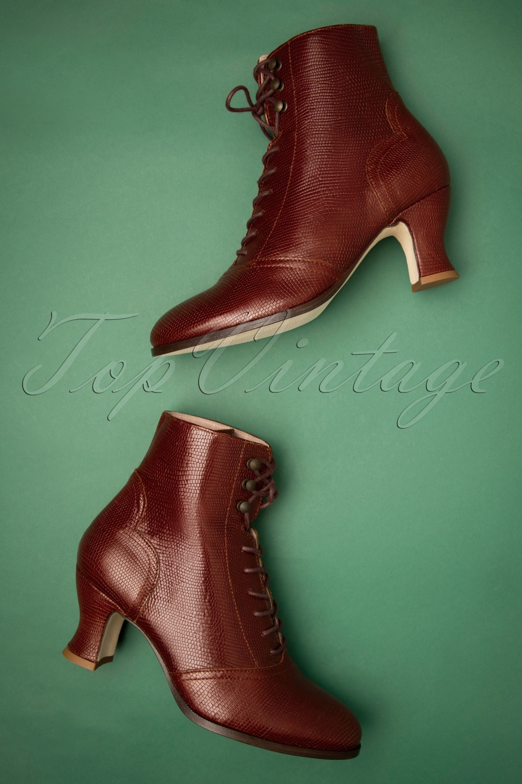 1940s Dresses and Clothing UK | 40s Shoes UK 40s Alexa Lizard Lace Up Booties in Tan £218.75 AT vintagedancer.com