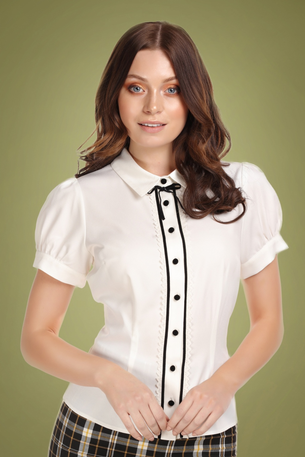 1940s Blouses and Tops 40s Bryonny Blouse in Ivory £36.71 AT vintagedancer.com