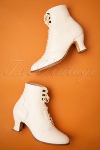 Miss L-Fire 40s Alexa Lace Up Booties in Cream