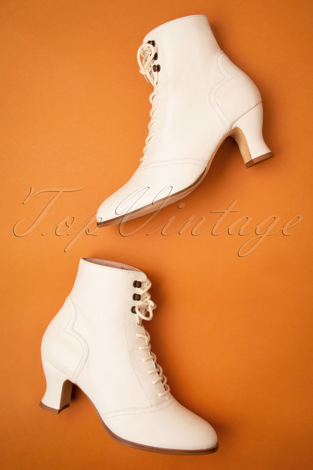 Edwardian Shoes & Boots | Titanic Shoes 40s Alexa Lace Up Booties in Cream £221.23 AT vintagedancer.com