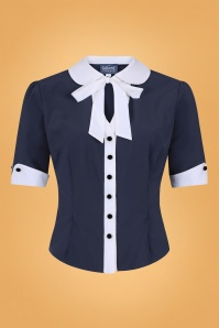 Collectif 29881 Eleanor Blouse in Navy 20190430 021LW