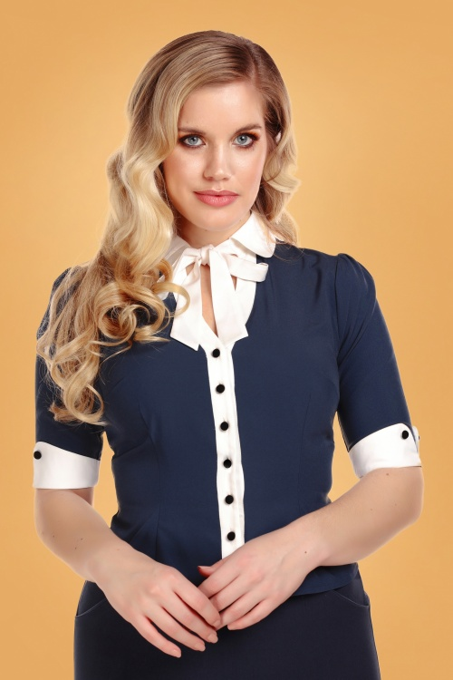 Collectif 29881 Eleanor Blouse in Navy 20190430 020LW