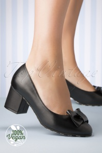 60s Eve Vegan Spry Block Heel Pumps in Black