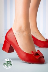 Lola Ramona 60s Eve Vegan Rosy Block Heel Pumps in Red