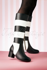 Lola Ramona 60s Eve Queen Of Hearts Boots in Black and White