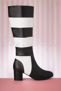Lola Ramona 30264 Eve Bootie Black White Boots Striped 20190902 003 W