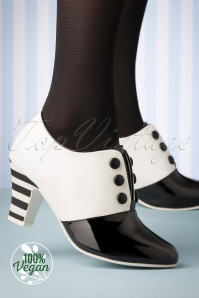 Lola Ramona 50s Elsie Swing Vegan Shoe Booties in Black and White