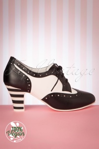 Lola Ramona 50s Ava Vegan Bonbon Shoe Booties in Black and White