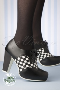Lola Ramona 50s Angie Vegan Checkered High Heeled Shoe Booties in Black
