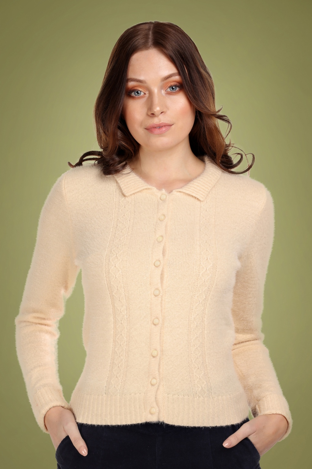 1940s Style Sweaters and Knit Tops 40s Cara Cardigan in Cream £49.84 AT vintagedancer.com