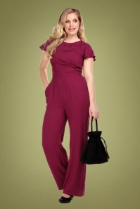 Collectif Clothing Joelyn Jumpsuit Années 40 en Lie-de-vin