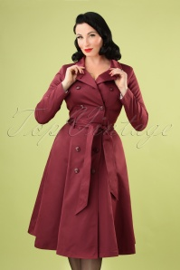 Collectif 29939 Korrina Swing Trench Coat in Burgundy 20190905 3536W
