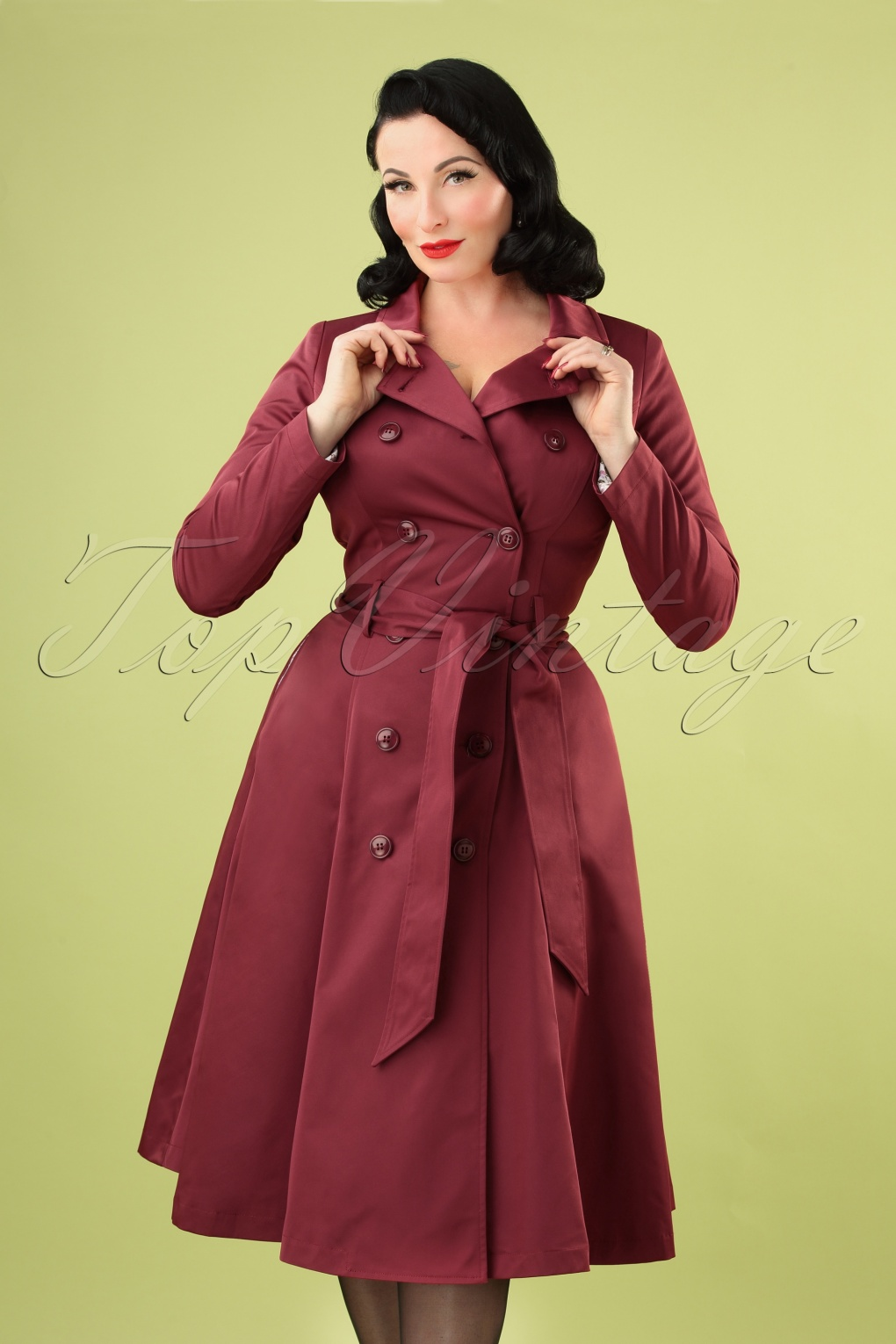 1940s Style Coats and Jackets for Sale 40s Korrina Swing Trench Coat in Burgundy £122.90 AT vintagedancer.com