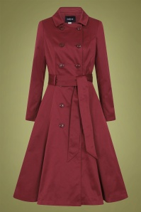 Collectif 29939 Korrina Swing Trench Coat in Burgundy 20190905 020LW