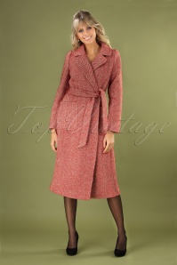 60s Barclay Long Parquet Coat in True Red